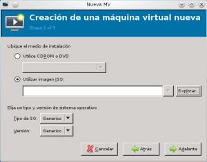 máquina virtual selecciona imagen