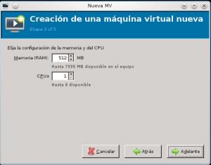 máquina virtual cpu y ram
