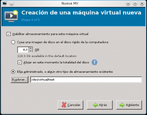 máquina virtual volumen